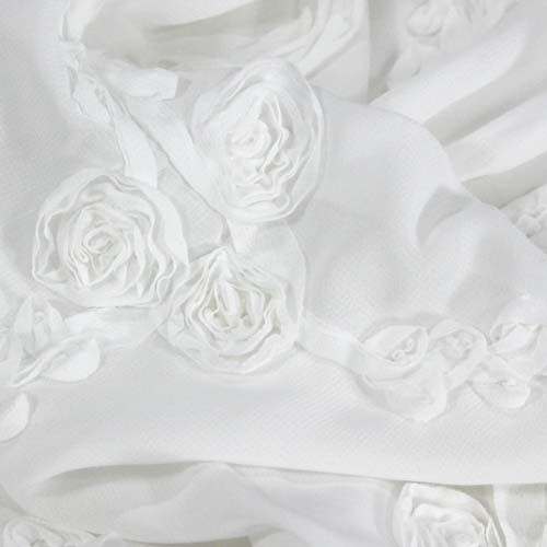 Šifon bílý, našitý vzor růží, š.140(130)