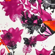 Dekoračné látka biela, ružové, oranžové a čierne kvety, š.150