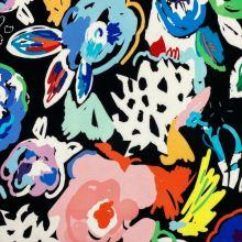 Teplákovina nepočesaná čierna, farebné kvety, š.150