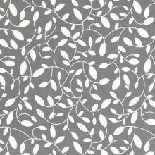 Dekoračná látka s teflónovou úpravou sivá, biele listy, š.160