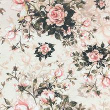 Dekorační látka P0550 meruňková, kytice růží, š.140