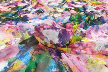 Šifón farebný 20298, abstraktný vzor, š.145