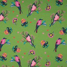 Teplákovina nepočesaná zelená, ptáci mezi květy, š.150