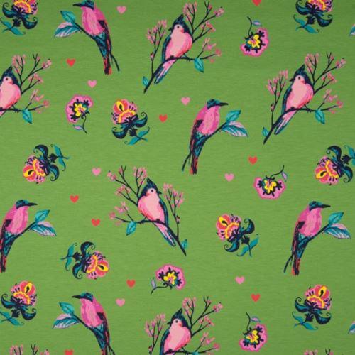 Teplákovina nepočesaná zelená, vtáky medzi kvetmi, š.150
