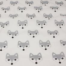 Bavlna bílá, šedé lišky, š.160