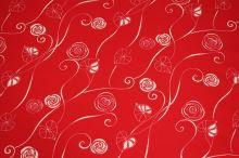 Bavlna červená, bílý vzor š.140