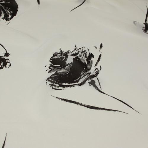 Šifon bílý, hnědý vzor, š.140