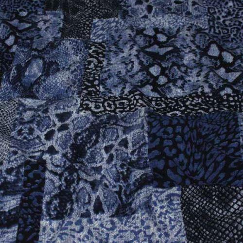 Šatovka modrotisk, zvířecí vzor, š.140