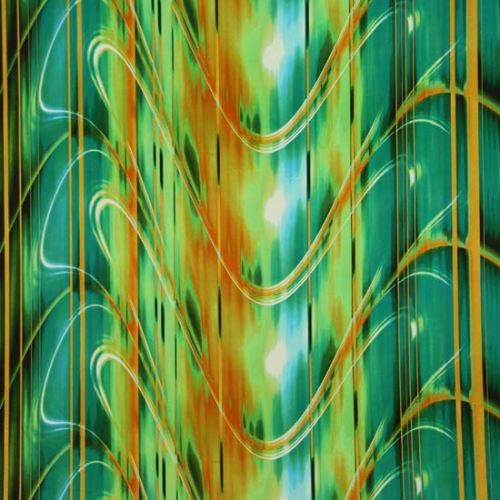 Satén zeleno-rezavý, vlny, š.145