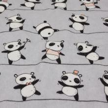 Flanel svetlo šedý, pandy, š.160