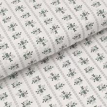Bavlněné plátno bílé, zelený květinový motiv, š.140