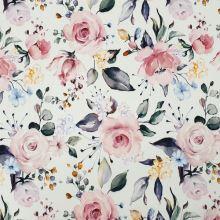 Šatovka silky biela, ruže a drobné kvety, š.140