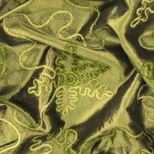 Taft zelený, vzorovaná aplikace s třásněmi, š.145