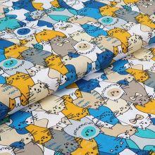 Bavlněné plátno, žluto-modré kočky, š.140