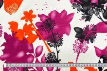 Dekorační látka bílá, růžové, oranžové a černé květy, š.150