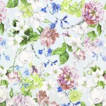 Šatovka SILKY ľadovo modrá, kvetinový mix, š.145
