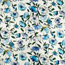 Úplet biely 20821, modrobiele kvety a zelené listy, š.145