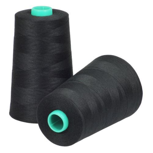 Nit KORALLI polyesterová 120, 5000Y, odstín 9590, černá-šedá