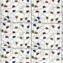 Minky s 3D puntíky bílé, autodráha, š.140