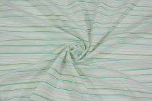 Košilovina bílá, žlutozelený pruh š.160