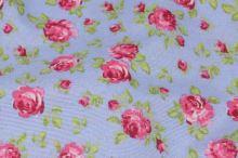 Dekoračná látka modrá, ružové ružičky, š.140