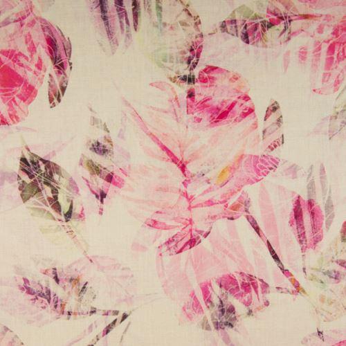 Ľan krémový, ružové listy, š.135
