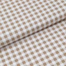 Bavlnené plátno béžovo-biela kocka, š.140