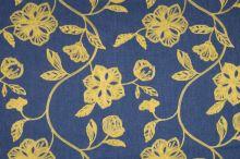 Šatovka denim, žltá výšivka, š.135/150