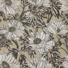 Dekorační látka, černo-bílý květ, š.140