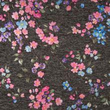Úplet šedá melanž, barevné květy, š.145