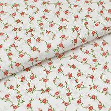 Bavlnené plátno biele, ružové drobné kvety, š.140