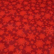 Bavlnené plátno červené, vločky, š.140