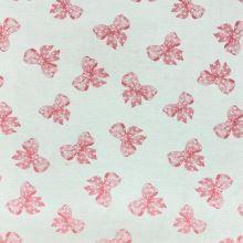 Dekoračná látka P0566, ružové mašličky s bodkami, š.140