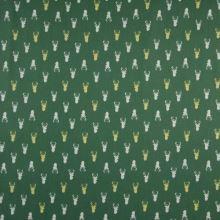 Popelín zelený, hlavy sobů, š.145