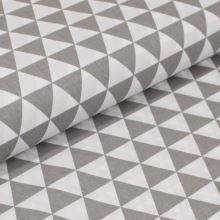 Bavlněné plátno bílé, šedé trojúhelníky, š.160
