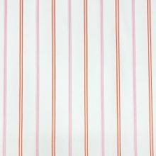 Bavlnený satén biely, ružový pruh, š.130