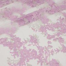 Tyl růžový, růžovo-stříbrná výšivka, š.130/140