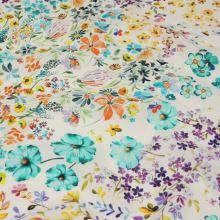 Šatovká bílá, zeleno-fialové luční květy, š.140