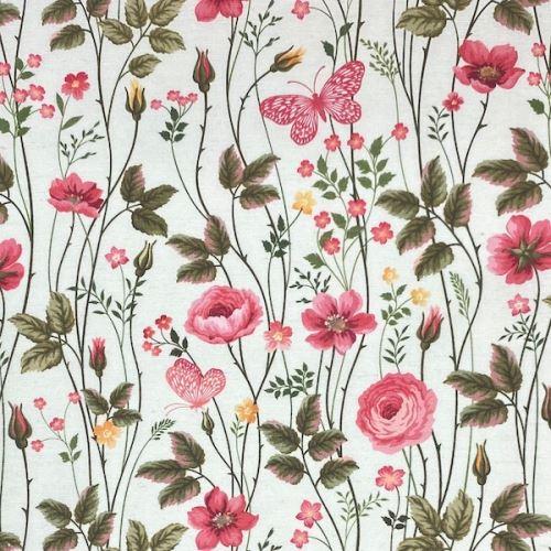 Dekorační látka P0545 bílá, květinový vzor, š.140