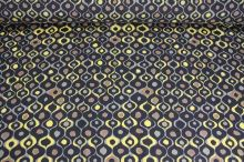 Šatovka černá, hnědožlutý vzor š.140
