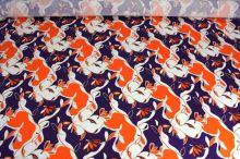 Úplet fialový 09037, oranžovobílý vzor š.145