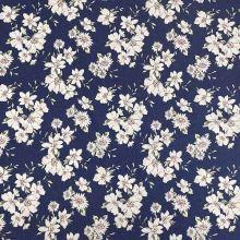 Denim modrý, květinový vzor, š.145