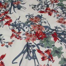 Šatovka krémová, červený květ, š.140