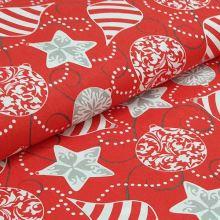 Bavlnené plátno červené, vianočné ozdoby, š.160