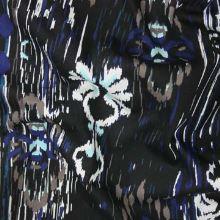 Bavlna černá, barevný vzor modrý pavouk š.135