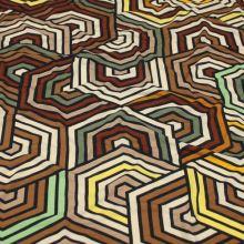 Úplet 18769, hnědý geometrický vzor, š.140