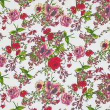 Bengalíno bílé, barevný květinový vzor, š.145