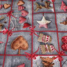Vánoční dekorační látka šedočervená, š.140