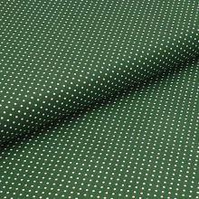 Bavlnené plátno tmavo zelené, biele drobné bodky, š.140