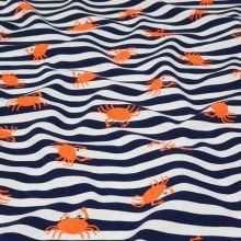Úplet modro-bílý pruh, oranžový krab, š.150